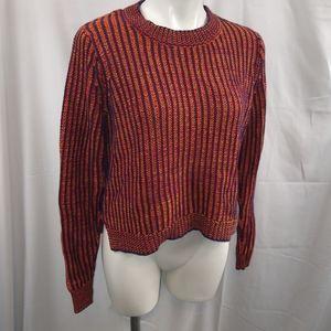 Cabi Cropped Stripe Knit Sweater Sz Medium